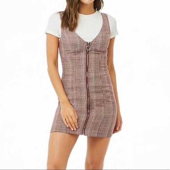 448459d2adf20 Forever 21 Dresses | Glen Plaid Mini Pinafore Dressf21 Size S | Poshmark